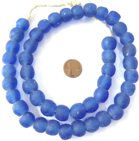 Made in Ghana Krobo Aqua blue recycled Glass African trade Beads-Ghana