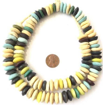 Ghana Ashanti handmade Recycled Glass Opaque Mixed colors Disk Saucer Beads