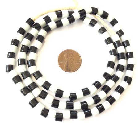 Fine Vintage Czech Bohemian Glass Black & White African Trade beads