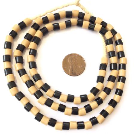 Fine Vintage Czech Bohemian Glass Black & Tan African Trade beads