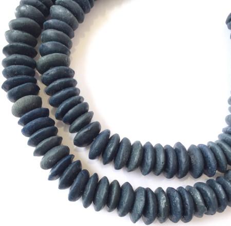 Ghana Ashanti handmade Recycled Glass dark blue colors Disk Saucer Beads