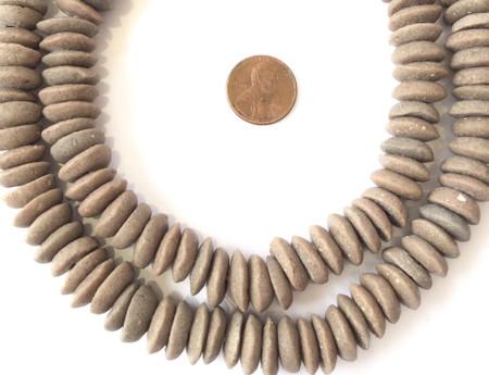Ghana Ashanti handmade Recycled Glass brown Disk Saucer Beads