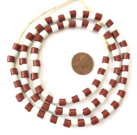 Fine Vintage Czech Bohemian brown and red Glass African Trade beads