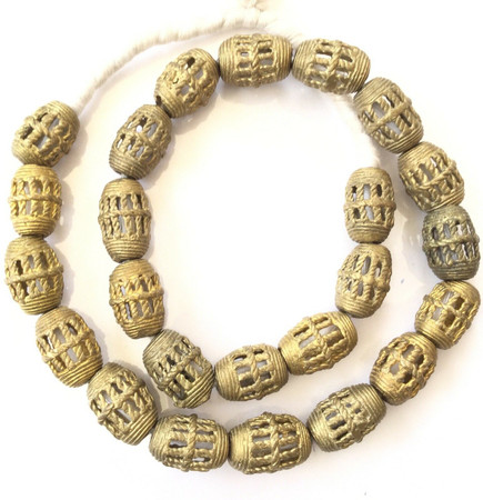 Authentic African lost Wax natural Oval Brass African trade Beads-Ghana