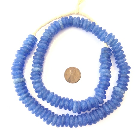 Blue Rondelle Krobo Recycled Glass African trade beads-Ghana