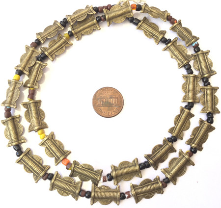 Strand of handmade Baule brass trade beads