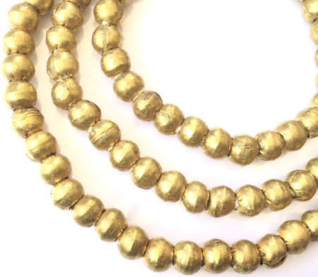 8.5mm Big Hole Ethiopian African Authentic Natural Brass round trade beads