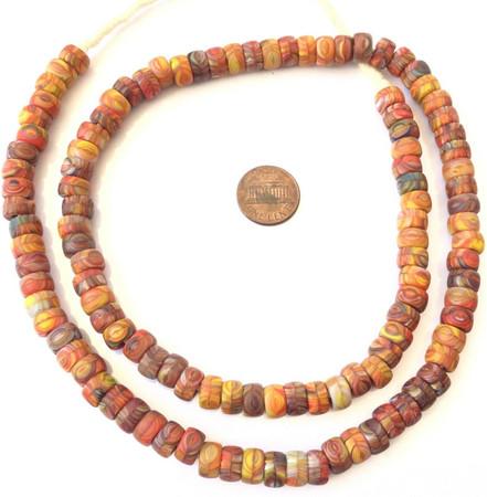 Amazing Orange mix Kente Colored Bohemian glass Crow African trade beads