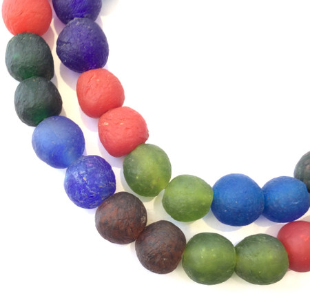Made in Ghana Krobo multi color recycled Glass African trade Beads