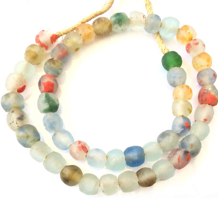 Ghana Krobo multi color recycled Glass African trade Beads