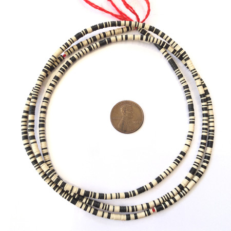 black and light tan multi Recycled Phono Record African Vinyl Disk trade beads