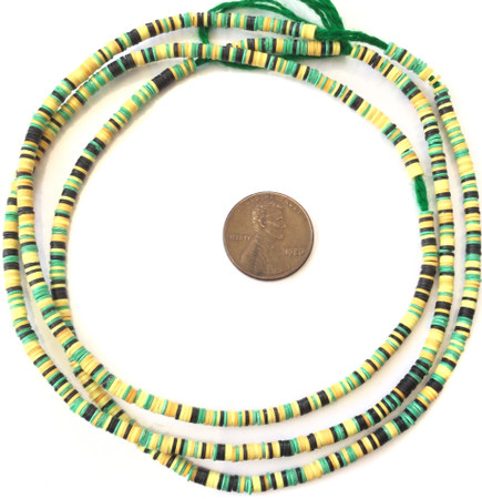 1223 green yellow and black multi Recycled Phono Record African Vinyl Disk trade beads