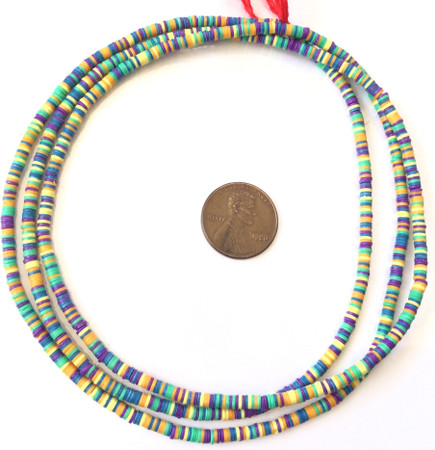 1223 Green orange and blue multi Recycled Phono Record African Vinyl Disk trade beads [9052]