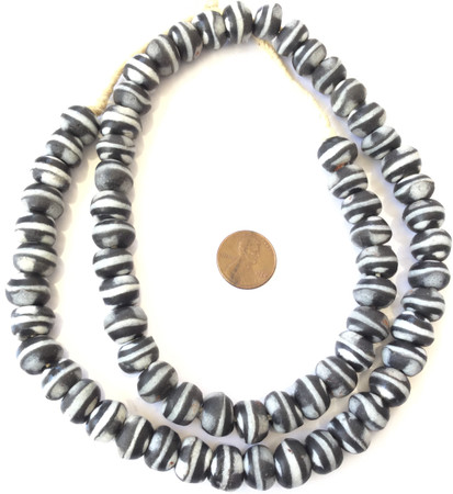 Amazing Ghana handmade Black and white glass Bicone African trade beads-Ghana-New Fall shipment