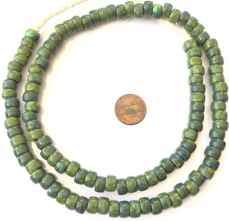 Amazing Green mix Kente Colored Bohemian glass Crow African trade beads [3450]