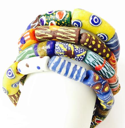 Handmade Ghana Fancy multi Colored bracelet-African Trade Beads-Ghana