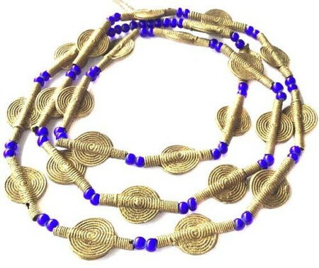 Baule smooth beads tribe handmade brass mixed African Trade Beads