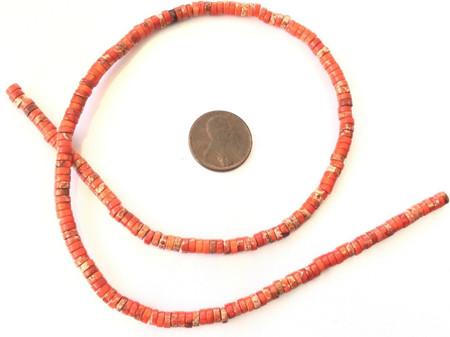 195 Amazing Orange Red ocean Jasper Heishi Gemstone beads-jewelry Making Beads