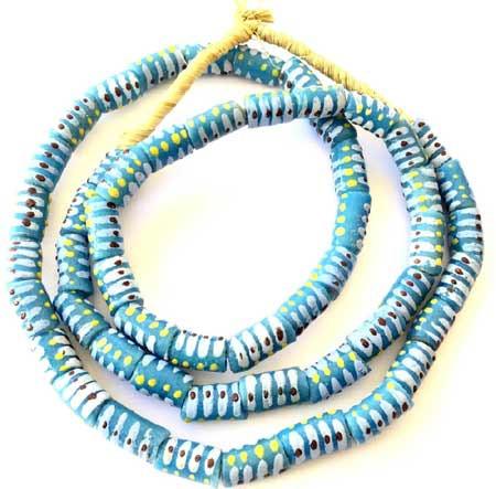 Handmade Turquoise Blue Multi-Ghana-Krobo-recycled Glass beads