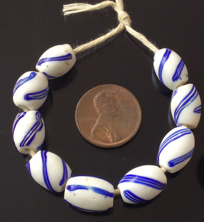 White and blue Antique wound striped Venetian glass African Trade beads