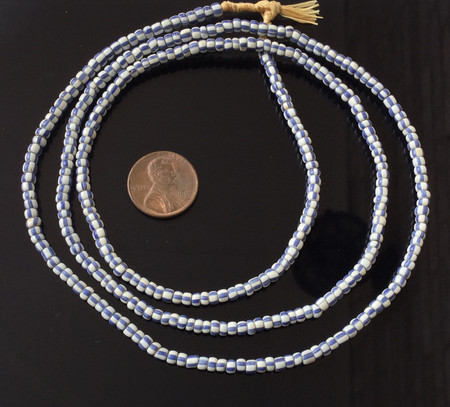 Blue and White Antique Venetian African Trade Beads