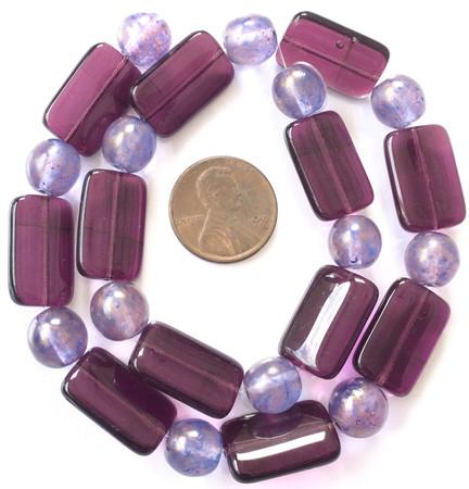 Mixed Vintage Amethyst and light amethyst Czech Bohemian Glass Beads [5888]