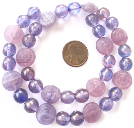 Mixed Vintage light amethyst and frosted amethyst Czech Bohemian Glass Beads