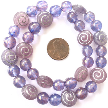 Mixed Vintage light amethyst and frosted amethyst silver swirl accent Czech Bohemian Glass Beads