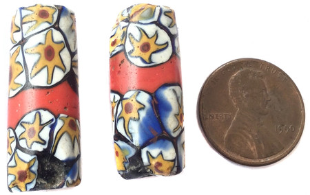 Venetian millefiori red banded trade beads