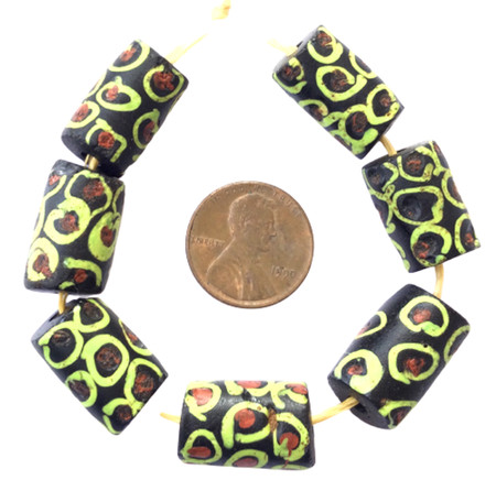 Collectible Venetian wound black and green Ghost antique trade beads