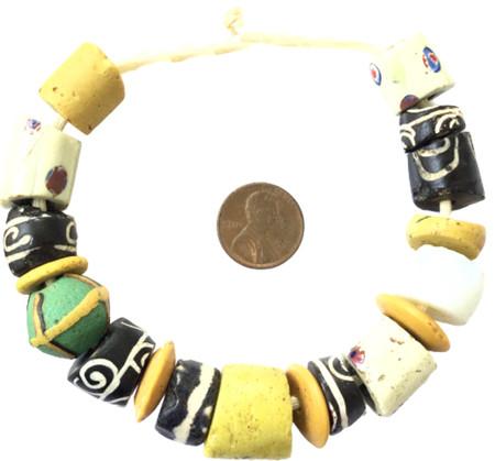 Collectible mixed European Venetian wound antique african trade beads