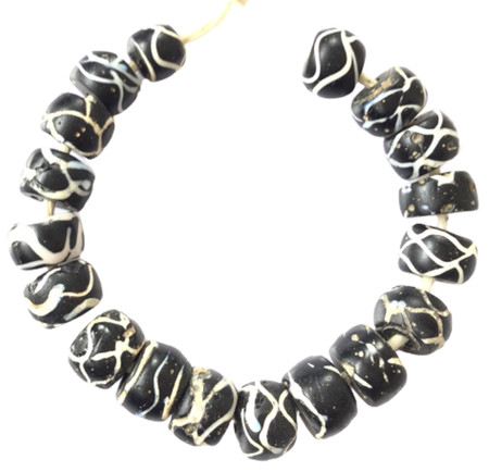 Antique Venetian Wound Black and white Rattle Snake African trade Beads