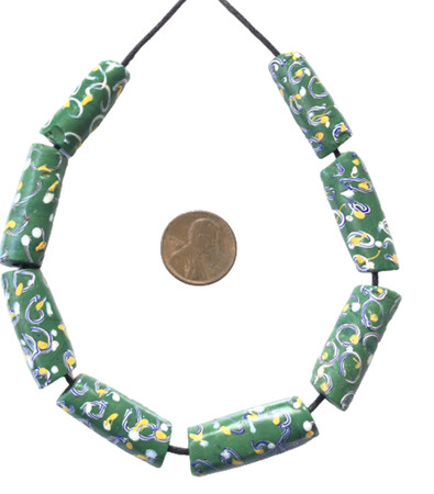 Collectible Venetian wound green Ghost antique trade beads