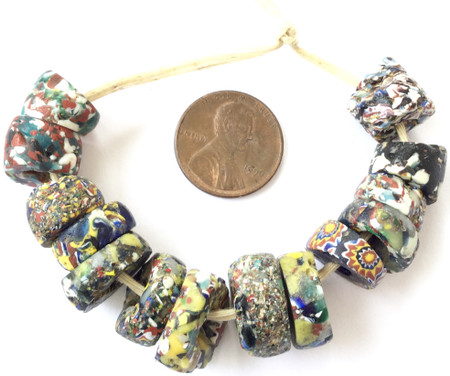 Collectible Mixed Venetian crumb millefiori antique trade beads