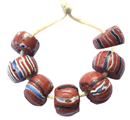 7 red Venetian wound  African Glass Trade beads-Ghana [5009]