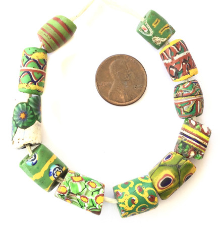 11 Mixed Antique wound and Venetian Millefiori African Glass Trade beads-Ghana