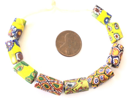 9 Mixed Antique wound and Venetian Millefiori African Glass Trade beads-Ghana [5012]