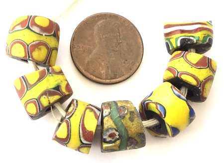7 pcs Millefiori Mixed African Glass Trade beads-Ghana