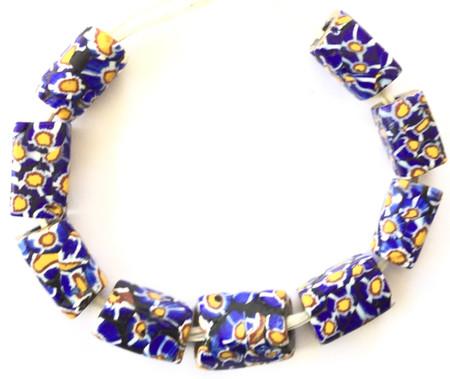 9 pcs Antique Venetian Millefiori African Glass Trade beads-Ghana [5016]