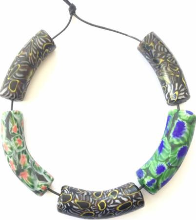 New mixed Venetian Green dark blue and black multi Millefiori glass African trade beads [53598]