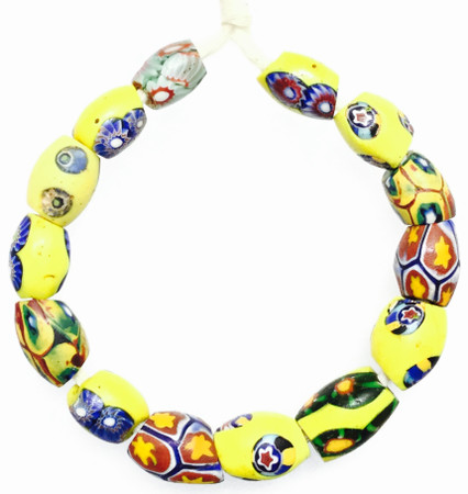 14 Mixed Antique Venetian Oval Millefiori African Glass Trade beads-Ghana [509554]