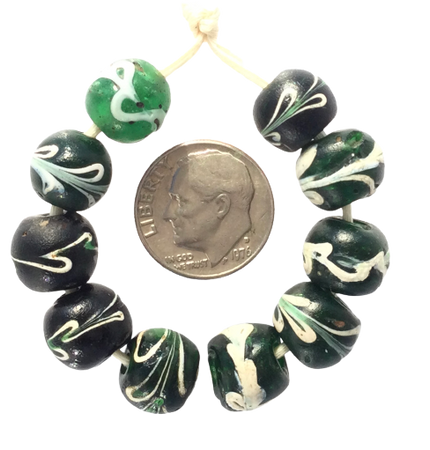 Old Antique Venetian round floral glass Strand African trade beads