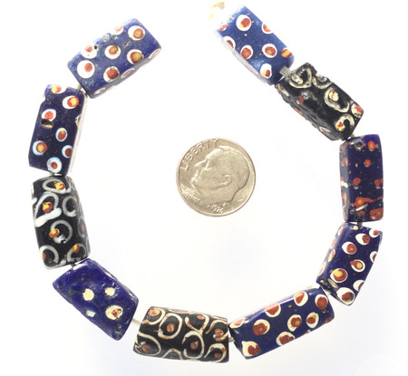 Antique Venetian rectangular glass trade beads [17454]