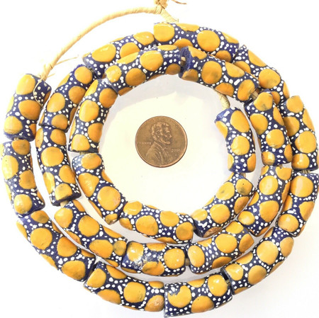 Ghana African Matched Dark Yellow polka dot Recycled glass trade beads-Ghana