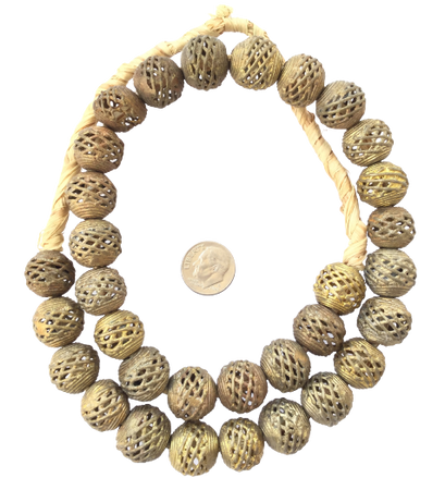 Ghana African lost Wax natural round Brass trade Beads -1645