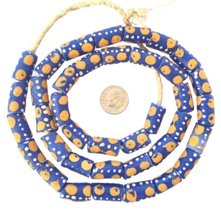 Ghana African Matched Dark Yellow polka dot Recycled glass trade beads-Ghana [95201]