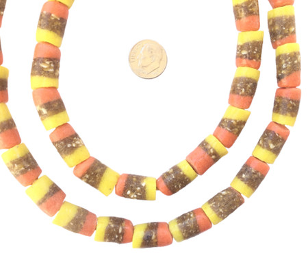 Ghana African Matched Coral, yellow and brown Recycled glass trade beads-Ghana