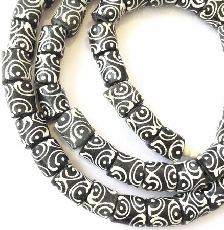 Ghana Opaque Black Zen Krobo Recycled Glass African Trade Beads-1822