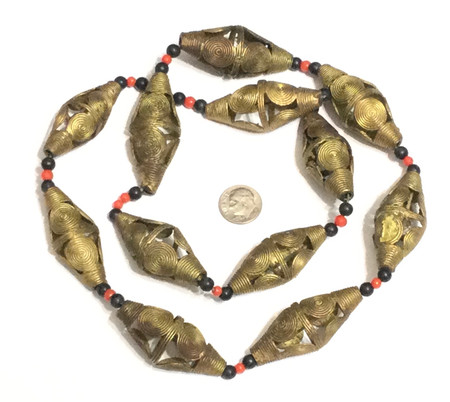 Ghana African lost Wax natural Bicone Brass trade Beads -1897
