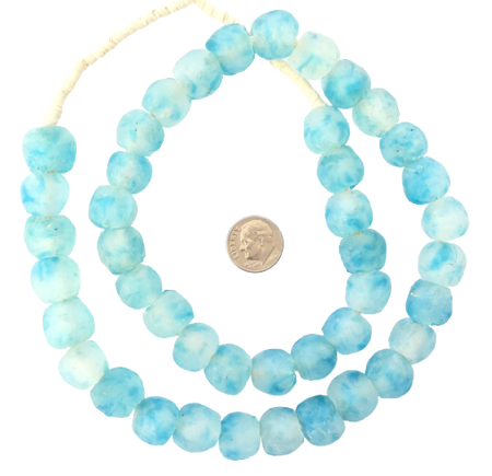 Made in Ghana Krobo clear Turquoise blue Glass African trade Beads-Ghana [30885]